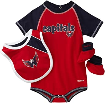 NHL Infant Washington Capitals Creeper, Bib & Bootie Set - R52Njdww (Red, 12 Months)