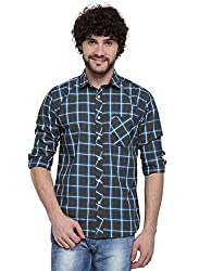 D'INDIAN CLUB Men's Green Checkered Cotton Casual Shirt