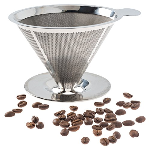 Pour Over Coffee Filter - Stainless Steel Reusable Coffee Maker and Paperless Coffee Dripper (Super Fine Coffee Filter compare prices)