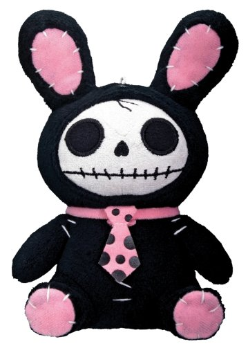 Bunny Furry Bones Plush Stuffed Animal Doll Black Pink Collectible