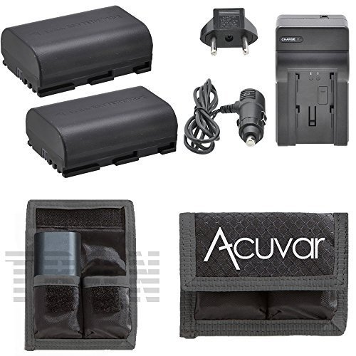 2 LP-E6 LP-E6N Rechargeable Batteries for Canon 5D Mark II, 5D Mark III, 6D, 7D, 60D & 70D Camera + Car / Home Charger + Acuvar Battery Pouch (Battery Canon 7d compare prices)