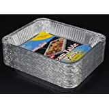 "Durable Packaging Aluminum Steam Table Pans, Half-Size, Medium, 12-3/4"" Length x 10-3/8"" Width x 2-3/16"" Depth (5 Bags of 20)"