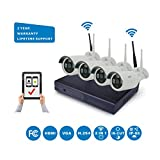 NorthShire Wireless Surveillance Camera Kit, NVR HD Security [1.3 Megapixel] Camera System with 4CH 960P 1.3MP Waterproof Superior Night Vision HD IP Cameras (Scan QR Code Quick Remote Access)
