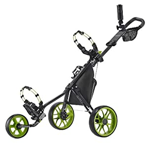 CaddyTek CaddyLite 11.5 V3 Deluxe Golf Push Cart, Black/Lime