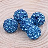 DUMAN 10pcs Cartel Blue 10mm Clay CZ Disco Ball Beads Crystal Studded Shamballa Craft for Bracelet, Necklace, Earrings Jewellery Making