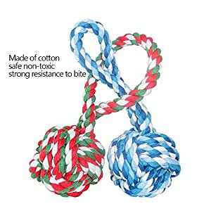 BOGZON Dogs & Cats Chewing Toy With a Tug - Pet Puppy Knotted Cotton Rope Toy Balls for Biting Training, 2 Packs (Color of Toy balls will be shipped at random)