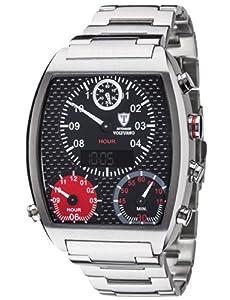 DETOMASO VOLTURNO DT2057-C- reloj hombre- plateado/negro- correa acero- nuevo