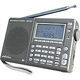 Eton E5 Recepteur radio portable AM/FM/LW/Ondes Courtes avec SSB Etui de protection Adaptateur secteur Gun Metalpar Eton