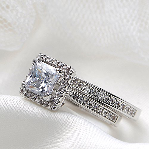 Newshe Jewellery 2.8 Carat Princess White Cz 925 Solid Sterling Silver Wedding Band Engagement Ring Sets Size 12