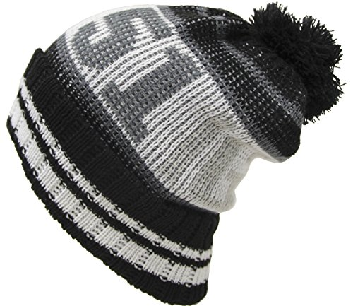 カラー英字ジャガード柄ボン付きニット帽(大きい帽子最大65cm) グレー
