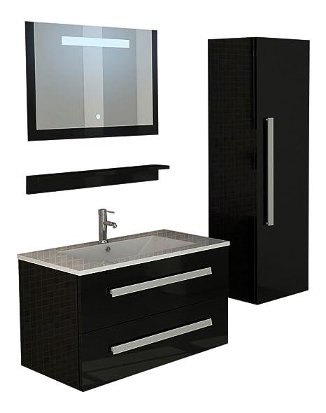 Set da bagno St. Moritz in Nero hochlganz Set Specchio con illuminazione lavabo da bagno specchio con luce LED Touch con congelatore