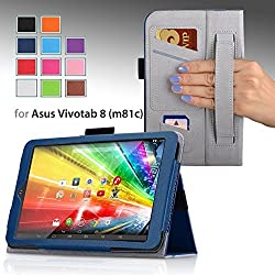 For ASUS VIVO Tab 8 (M81C) 8-inch Tablet Premium QUALITY PU LEATHER FOLIO PROTECTIVE SMART CASE, COVER, STAND with MICROFIBER INNER, STYLUS SLOT, Hand Strap and Credit Cards / ID Holders! Dark BLUE.