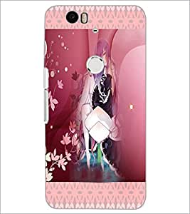 PrintDhaba Cute Animated Girl D-3582 Back Case Cover for HUAWEI NEXUS 6P (Multi-Coloured)