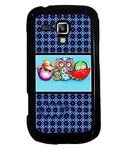 PRINTVISA Funny OWL Premium Metallic Insert Back Case Cover for Samsung Galaxy S Duos 2 S7582 - D5931