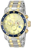 Invicta Mens Pro Diver Scuba Champagne Dial Swiss Chronograph Two Tone Bracelet Watch 80080