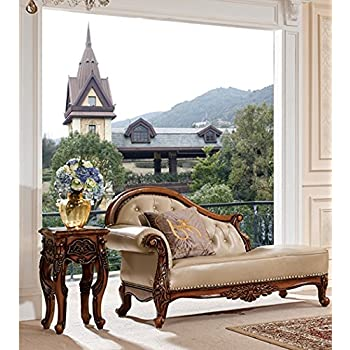 Ma Xiaoying Chaise Longue,Solid Wood frame,Genuine Leather,European Classic style,Carved by hand.Color Creamy white/Beige by Ma Xiaoying