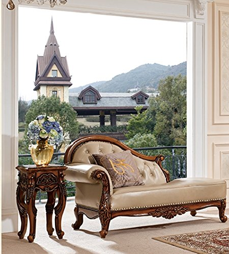 Ma Xiaoying Chaise Longue,Solid Wood frame,Genuine Leather,European Classic style,Carved by hand.Color Creamy white/Beige by Ma Xiaoying 0