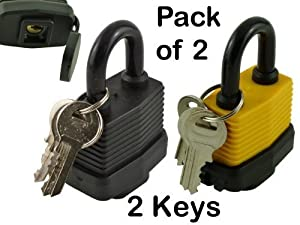 Brand New - Pack of 2 x Waterproof Weatherproof Heavy Duty Padlocks - 2 Keys Per Lock - Million Key Combinations for Maximum Security - Designed to Use Outdoors - Garage / Sheds / Bikes / Vans - Waterproof Padlocks - ON SALE