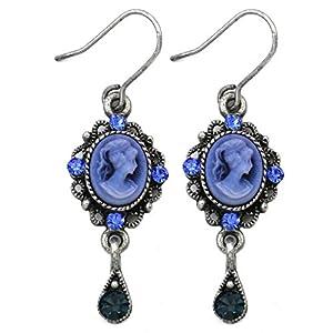 Cute Small Dark Navy Blue Teardrop Cameo Hoop Dangle Earrings Vintage Design NEW Romantic Cameo Jewelry