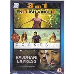 English Vinglish / Cocktail / Rajdhani Express (Hindi Film / Bollywood Movie / Indian Cinema 3 in 1 - 100% Orginal DVD Without Subtittle)