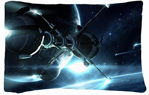 Microfiber Peach Standard Soft And Silky Decorative Pillow Case (20 * 26 Inch) - Nature Space Sci Fi Spacecraft Spaceship Planets Stars Art front-1021951