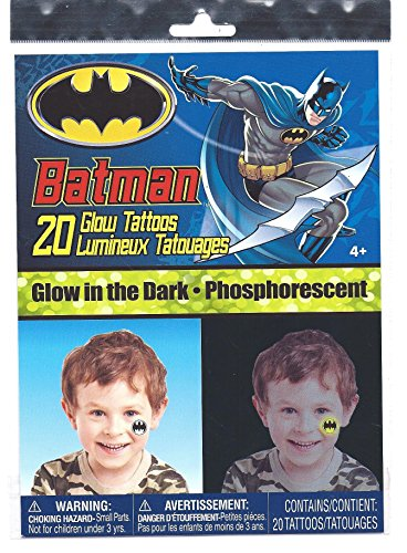 BATMAN Glow in the Dark 20 Temporary Tattoos