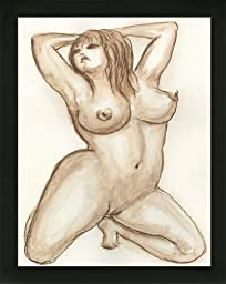 Original Art Boudoir BBW Voluptuous Curvy Woman Erotic Nude Female Watercolor Painting with black wood frame