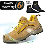 SAFETOE Mens Safety Work Shoes - L7296 Leather & Steel Toe Work Boots for Heavy Duty Work Wide Fit