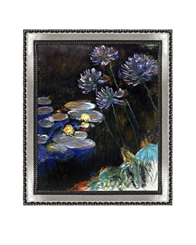 Claude Monet's Water Lilies And Agapanthus Framed Hand Painted Oil On Canvas, Multi