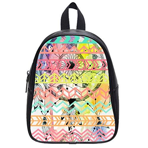 Fashion Funny Dream Catcher Aztec Tribal Hot Pink School Bag & Backpack Black front-922120