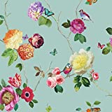 Arthouse Tapete verzauberte Blumen Vogel Schmetterling Rose Blumenmotiv - Blaugrün mehrfarbig 889800