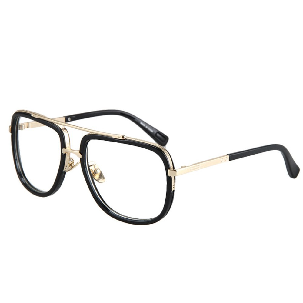 Vintage Men's Oversized Big Square Metal Frame Myopia Optical Eyeglasses 0