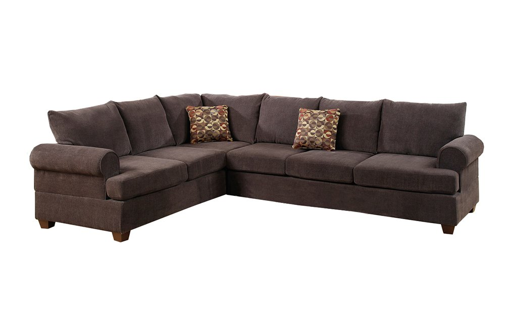 Poundex Bobkona Paxton Chenille Left or Right Hand Reversible Sectional Sofa - Dark Brown