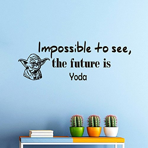 Wall Vinyl Decal Quote Sticker Home Decor Art Mural Impossible to see, future is Star Wars Yoda Z296