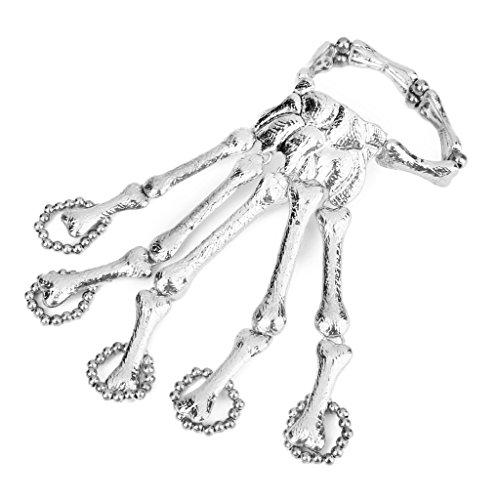 Punk Skeleton Hand Chain Fingers Skeleton Bracelet Slave Ring Silver