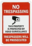 "My Security Sign K-2257 Heavy-Duty Aluminum Rectangle No Trespassing Sign, Legend ""NO TRESPASSING - THIS PROPERTY IS PROTECTED BY VIDEO SURVEILLANCE TRESPASSERS WILL BE PROSECUTED"" with Camera Symbol, Black/Red On White"