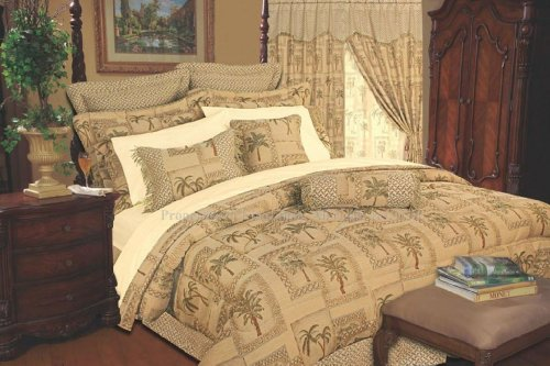 9 Pc Queen Size Tapestry Jacquard Palm Tree Bedding Comforter Set