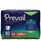 Prevail Extra Absorbency Incontinence Underwear Medium 20 Count (Pack of 4) Breathable Rapid Absorption Discreet Comfort Fit Adult Diapers
