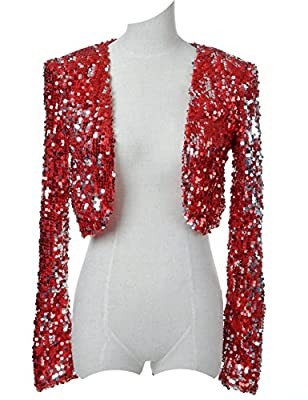 Vijiv Women's 1920s Style Dresses Sequins Disco Bolero Shrug Top