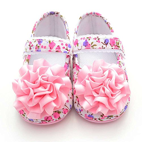 Delebao Baby Girl's Floral Non Slip Rubber Sole Mary Jane Crib Shoes Sandals (12-18 Months)