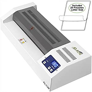 """Apache AL13P Professional Hot/Cold 13"""" A3 4 Thermal Laminator for Documents and Photos. Includes a 20 Pack of Standard 5 and 3 mil Laminator Pouches"""