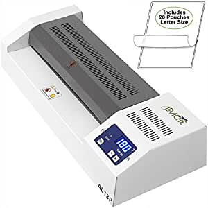 """Apache AL13P Professional Thermal Laminator, 13"""" A3 size, with Four Adjustable Rollers and Fully Adjustable Temperature - Includes a 20 Pack of Apache 5 and 3 mil Laminator Pouches (10 each)"""