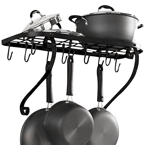 VDOMUS Square Grid Wall Mount Pot Rack, Bookshelf Rack with 10 Hooks, Kitchen Cookware, 24 by 10-inch, Black