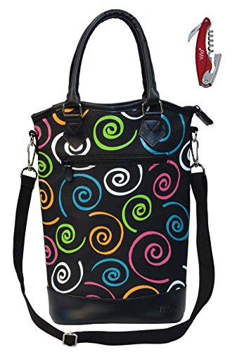 Vina Portable Wine Bag Carrier Bottle Holder, Durable Insulated Two Wine Carrying Totes Case, Perfect for Travel Outdoor Picnic Party, Christmas Gift (Monogrammed Wine Carrier compare prices)