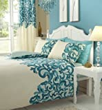 Saville Cream And Teal Double Bed Poly/Cotton Duvet Cover Set