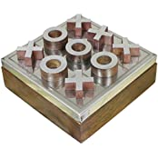 "Set Of 2 - Handmade Wooden Tic Tac Toe Game Toy - Noughts And Crosses Wooden Toy And Puzzle Set - 4.5"" X 4.5""..."
