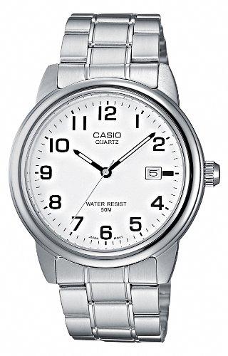 Casio MTP-1221A-7BVEF Gents Watch Quartz Analogue White Dial Silver Steel Strap