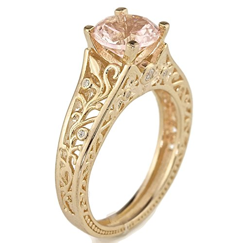 Created Pink Morganite Floral Filigree Engagement Ring Rose Gold Over Sterling Silver Size 8 (Filigree Engagement Ring compare prices)