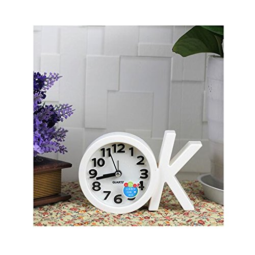 Mini Battery Operated chevet numérique Silent Alarm Clock OK-forme Blanc