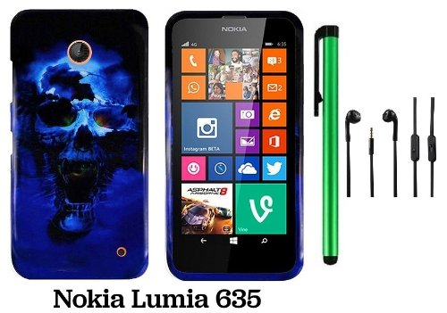Nokia Lumia 635 (Us Carrier: T-Mobile, Metropcs, And At&T) Premium Pretty Design Protector Cover Case + 3.5Mm Stereo Earphones + 1 Of New Assorted Color Metal Stylus Touch Screen Pen (Blue Skull On Black)
